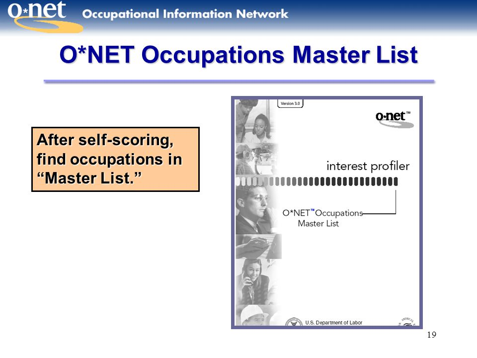 O*NET Occupations Master List