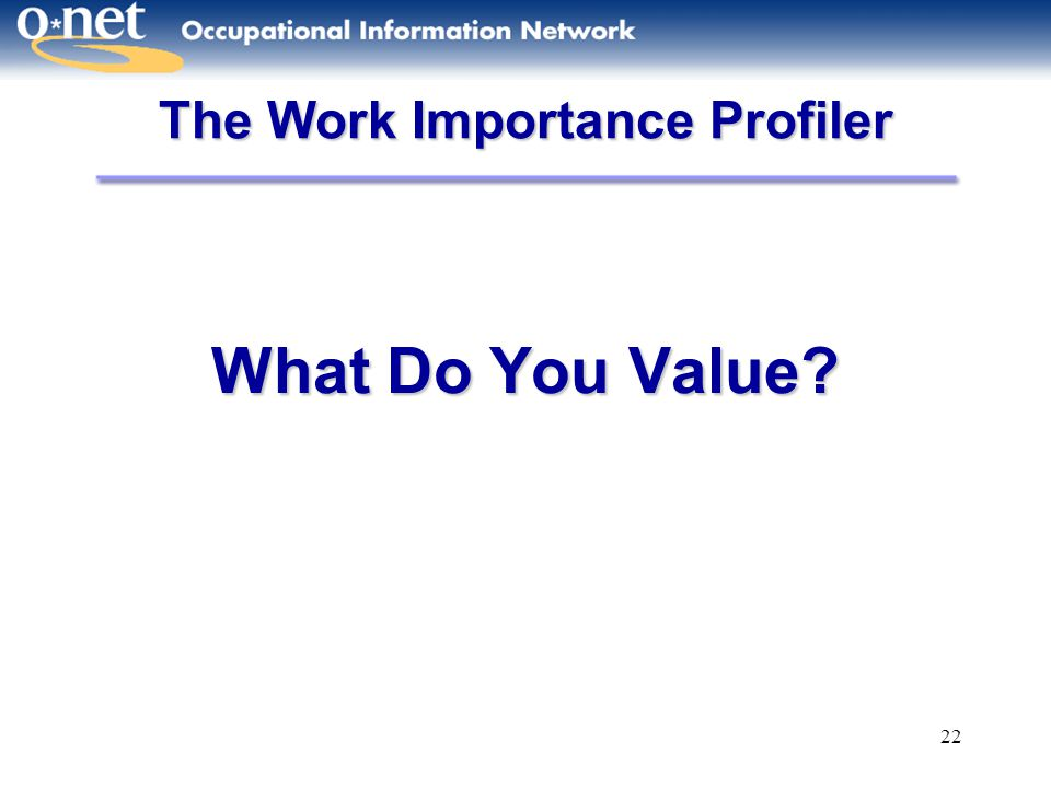 The Work Importance Profiler