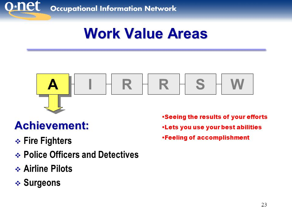 Work Value Areas A I R S W Achievement: Fire Fighters