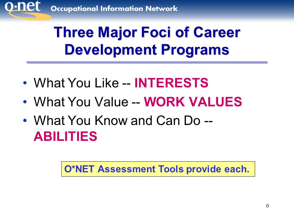 Three Major Foci of Career Development Programs