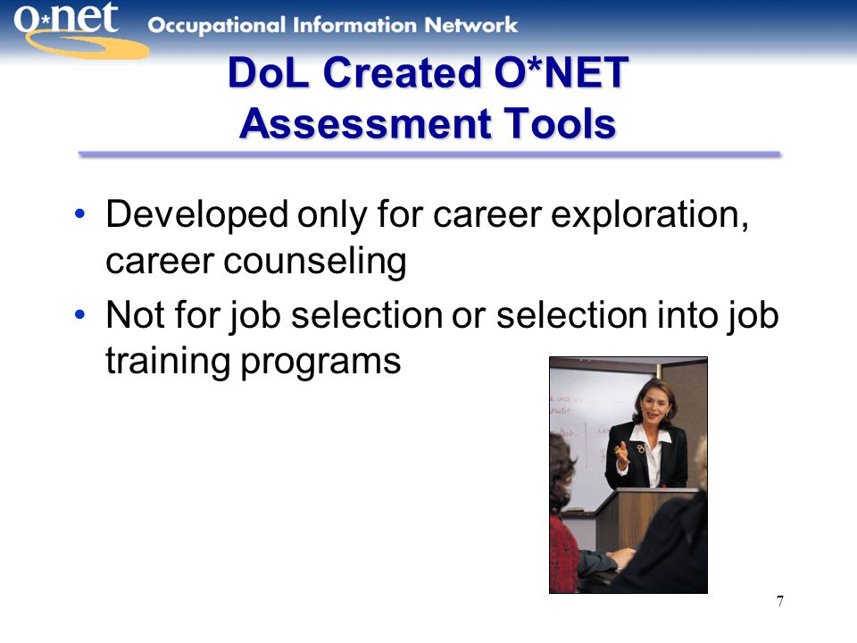 DoL Created O*NET Assessment Tools