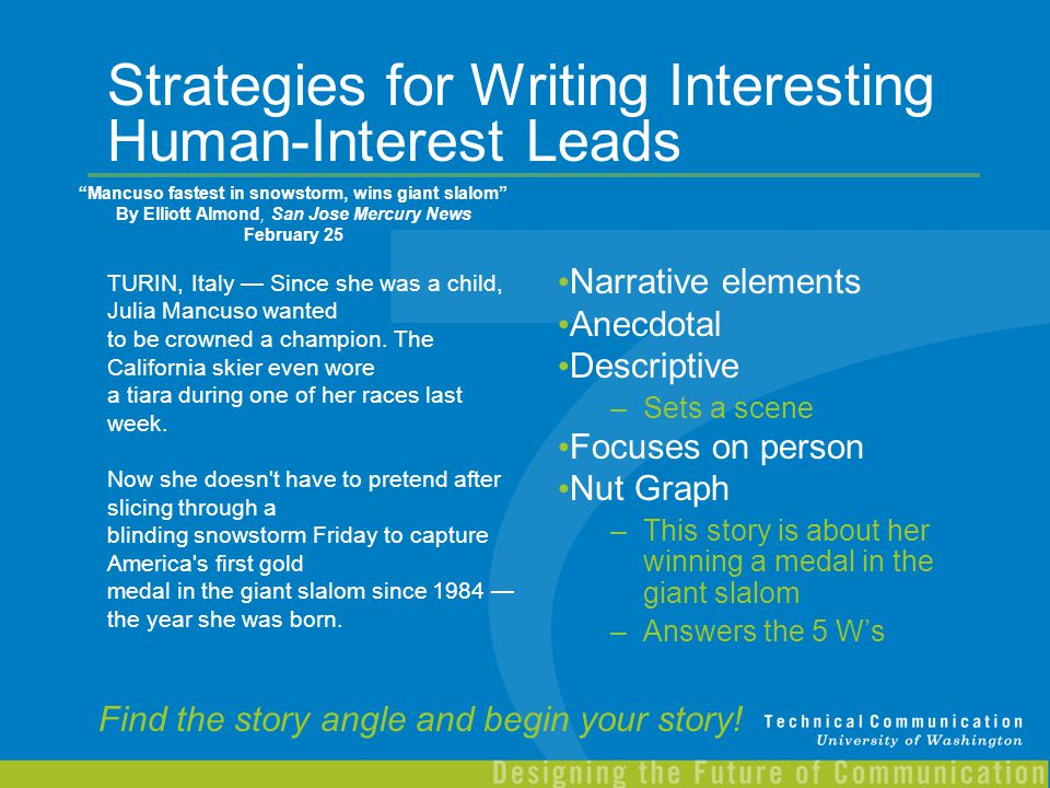 Strategies for Writing Interesting Human-Interest Leads