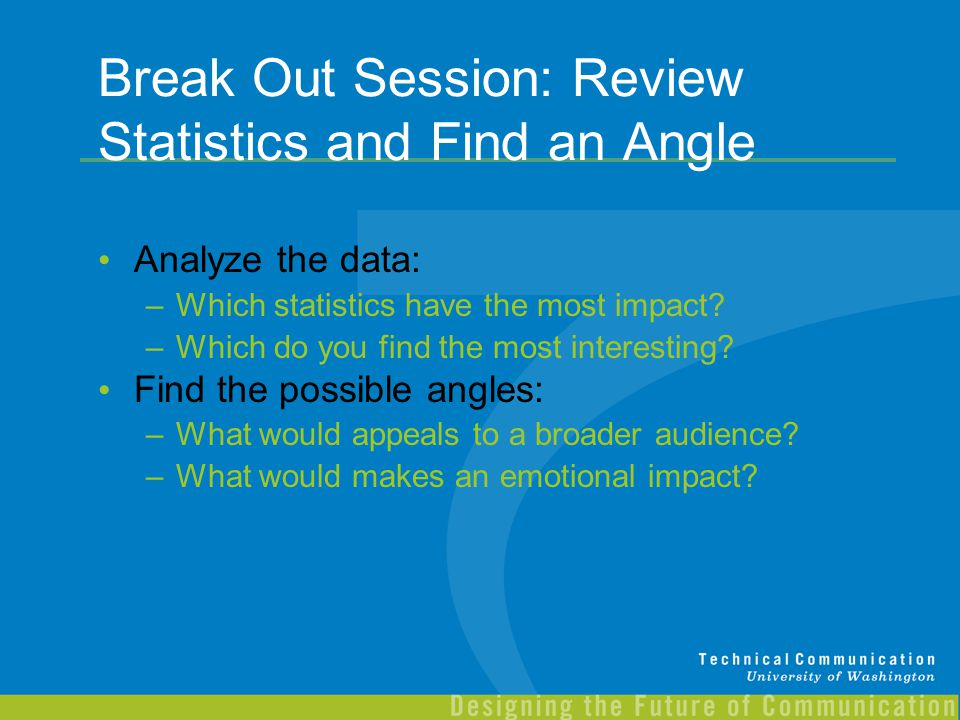 Break Out Session: Review Statistics and Find an Angle