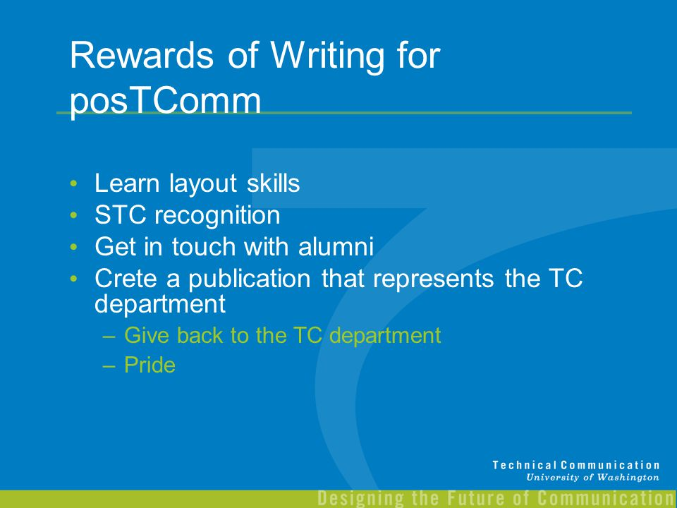 Rewards of Writing for posTComm