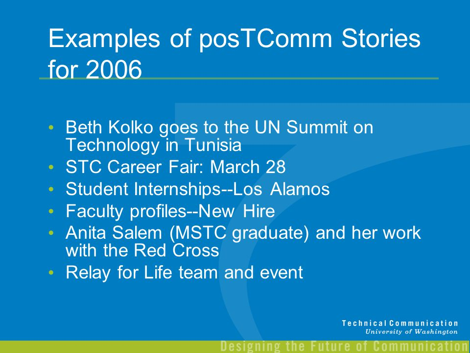 Examples of posTComm Stories for 2006