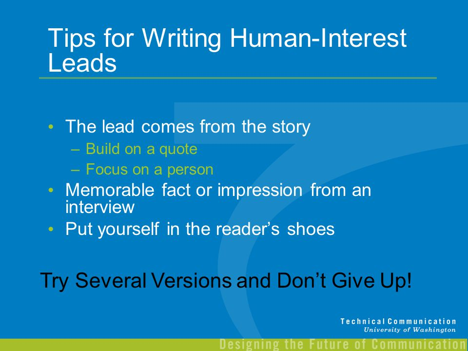Tips for Writing Human-Interest Leads