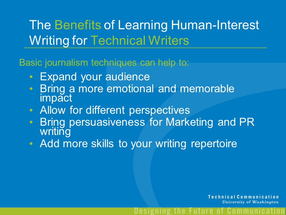The Benefits of Learning Human-Interest Writing for Technical Writers
