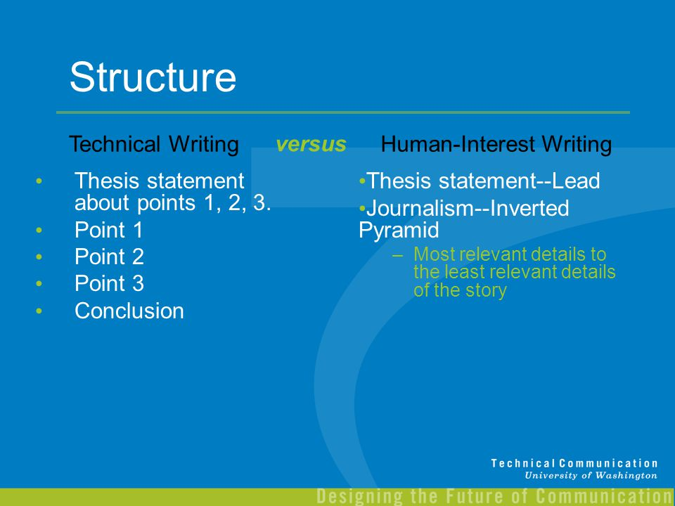 Structure Technical Writing versus Human-Interest Writing