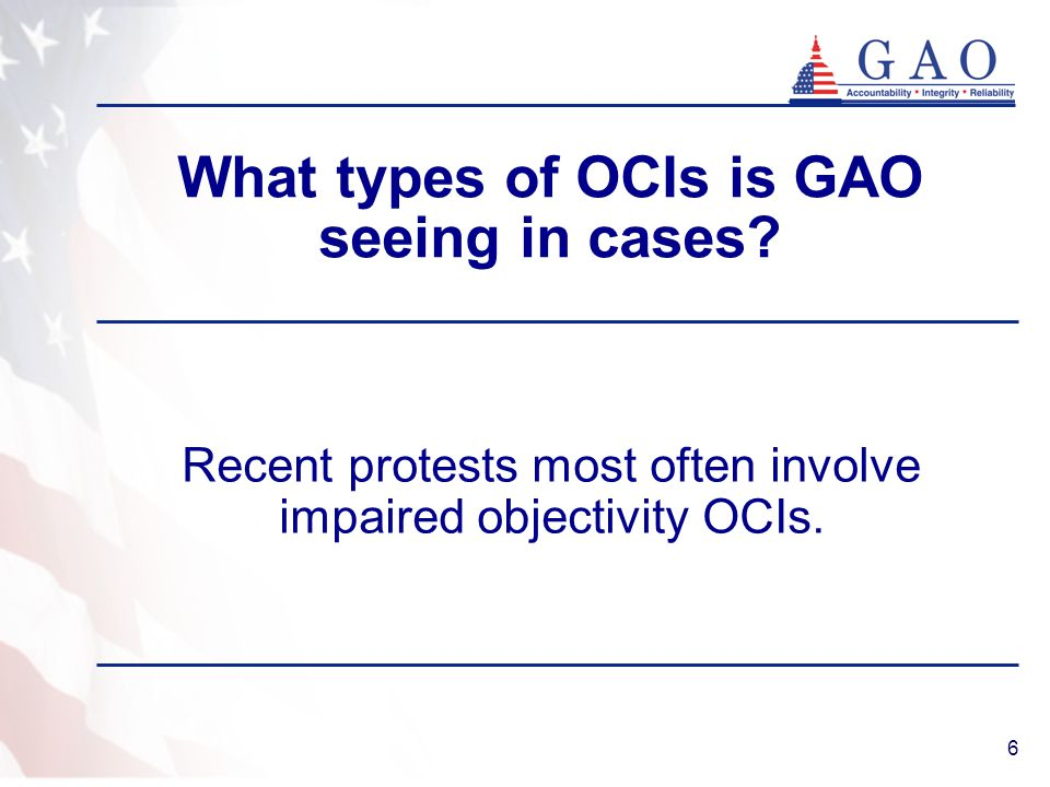 What types of OCIs is GAO seeing in cases
