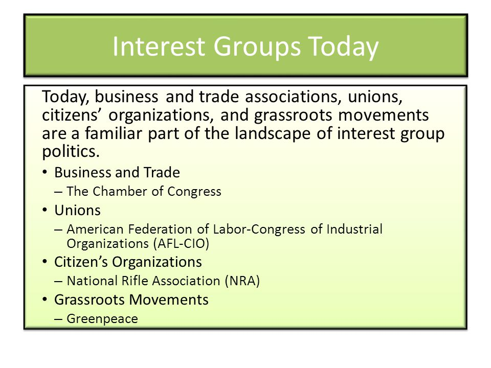 Interest Groups Today