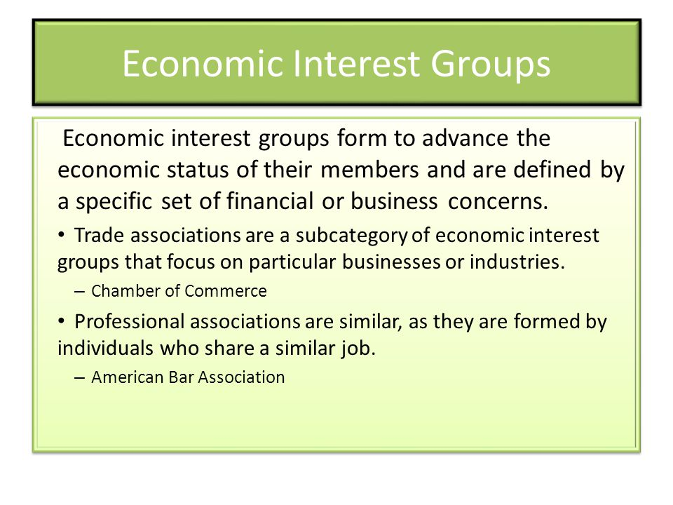 Economic Interest Groups