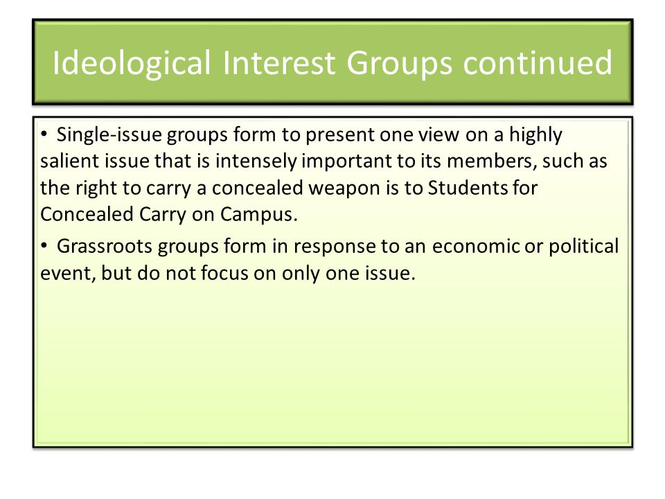 Ideological Interest Groups continued