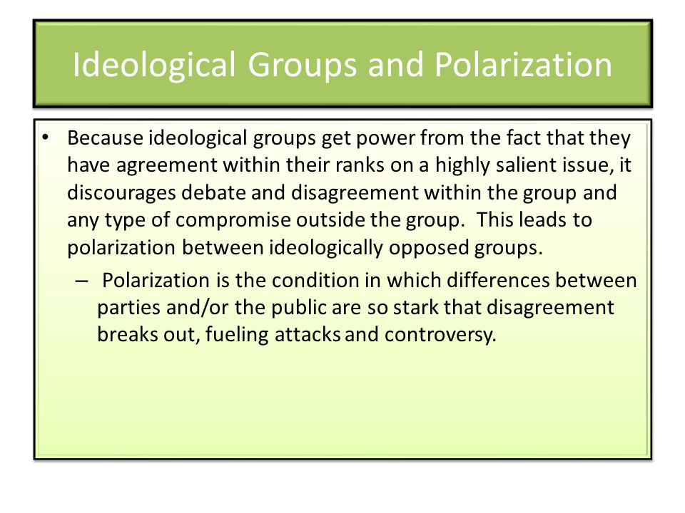 Ideological Groups and Polarization