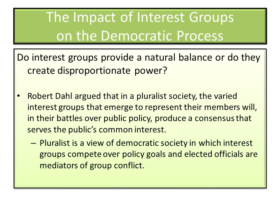 The Impact of Interest Groups on the Democratic Process