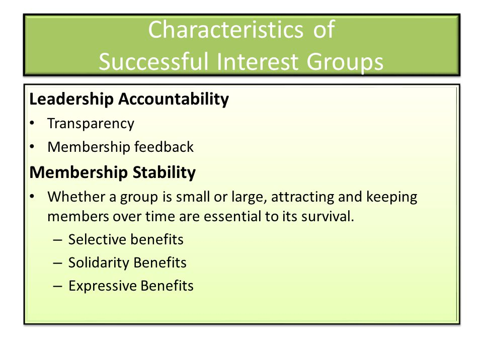Characteristics of Successful Interest Groups