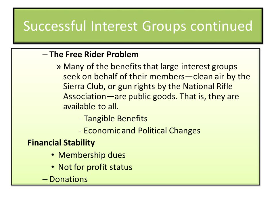 Successful Interest Groups continued