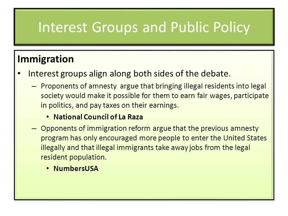 Interest Groups and Public Policy