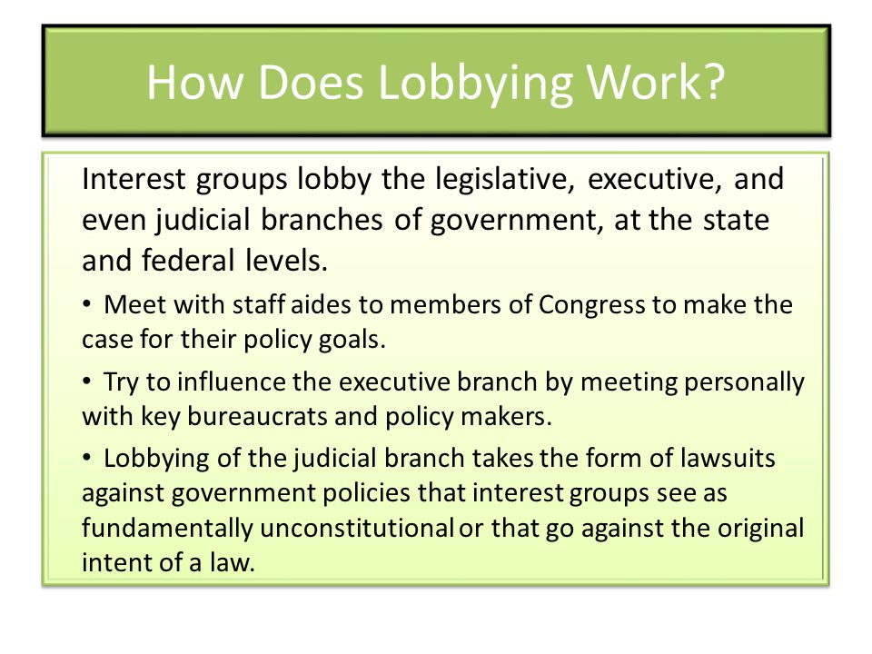 How Does Lobbying Work Interest groups lobby the legislative, executive, and even judicial branches of government, at the state and federal levels.