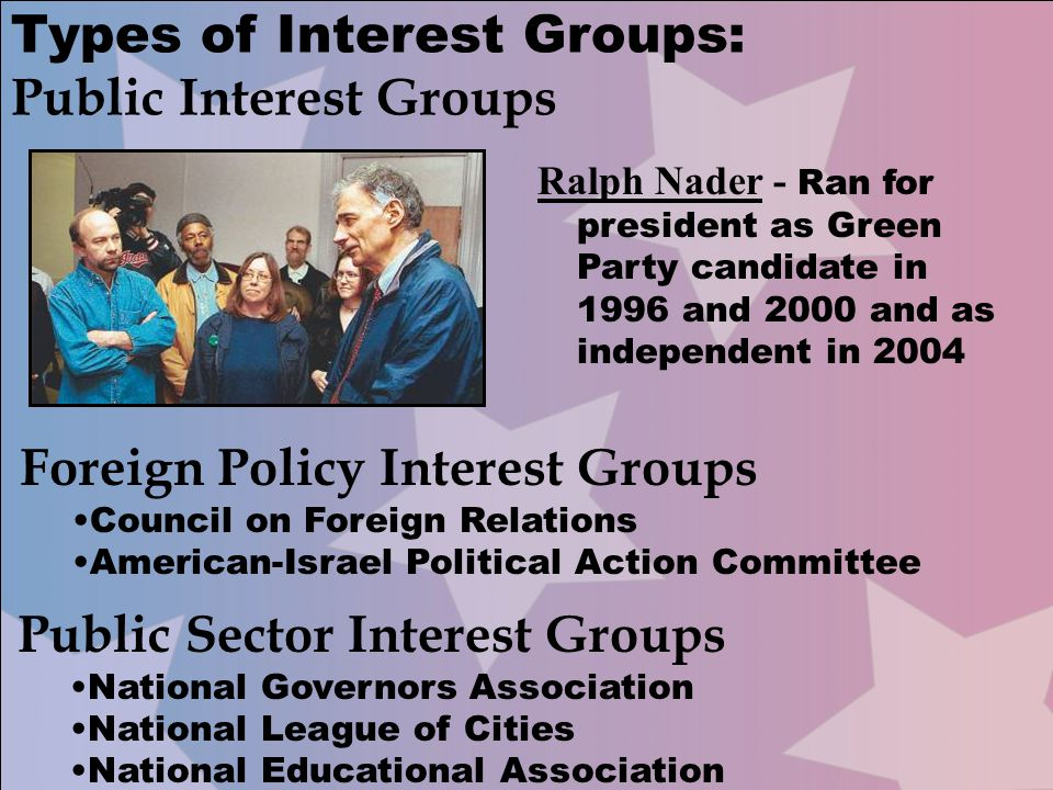 Types of Interest Groups: Public Interest Groups