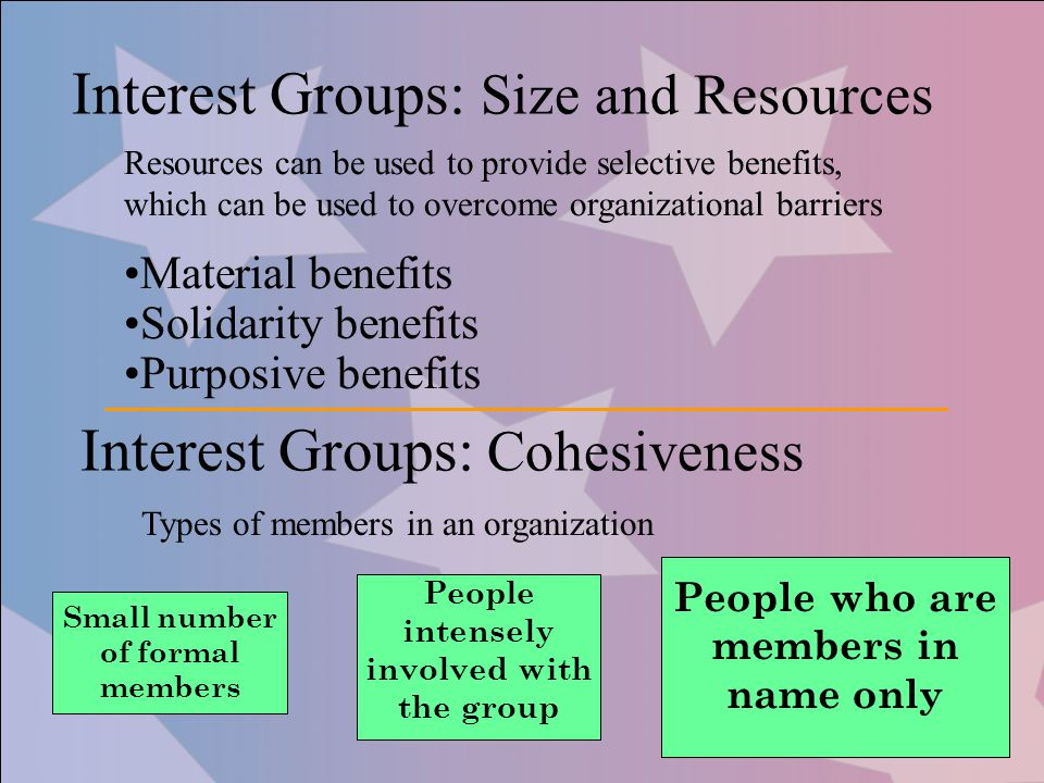 Interest Groups: Size and Resources