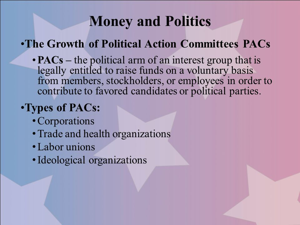 Money and Politics The Growth of Political Action Committees PACs