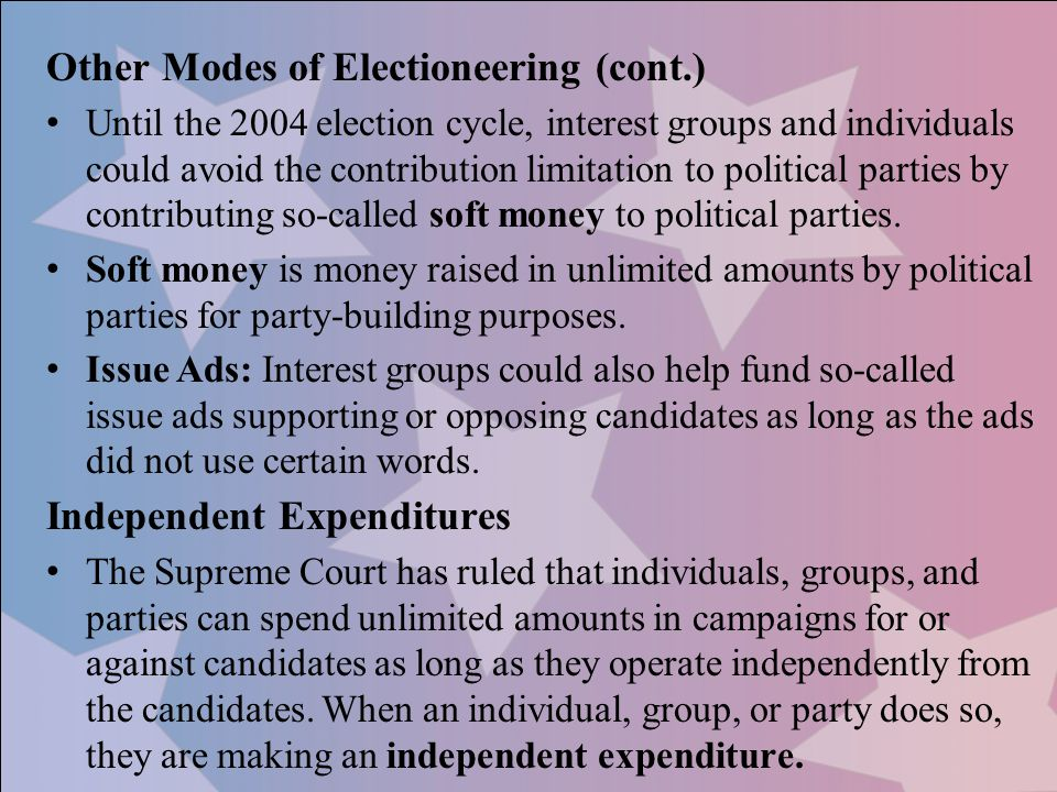 Other Modes of Electioneering (cont.)