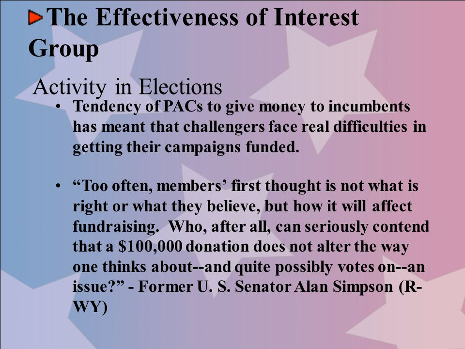 The Effectiveness of Interest Group Activity in Elections