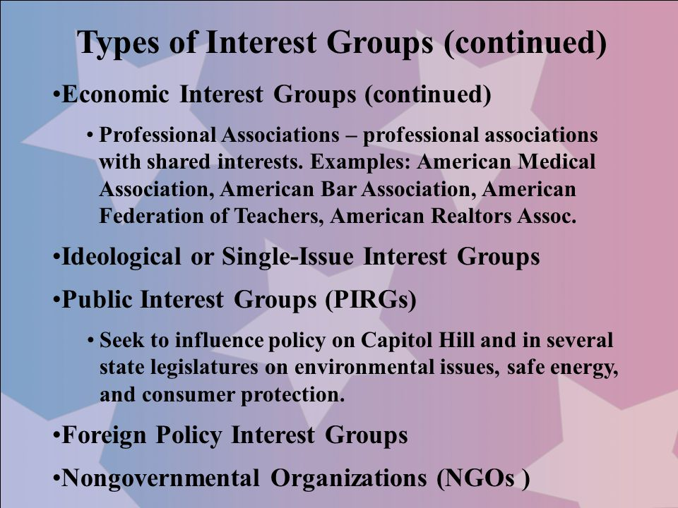 Types of Interest Groups (continued)
