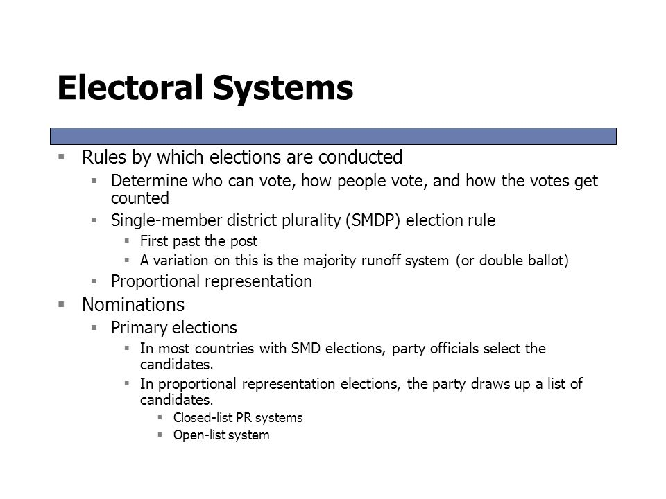 Electoral Systems Rules by which elections are conducted Nominations