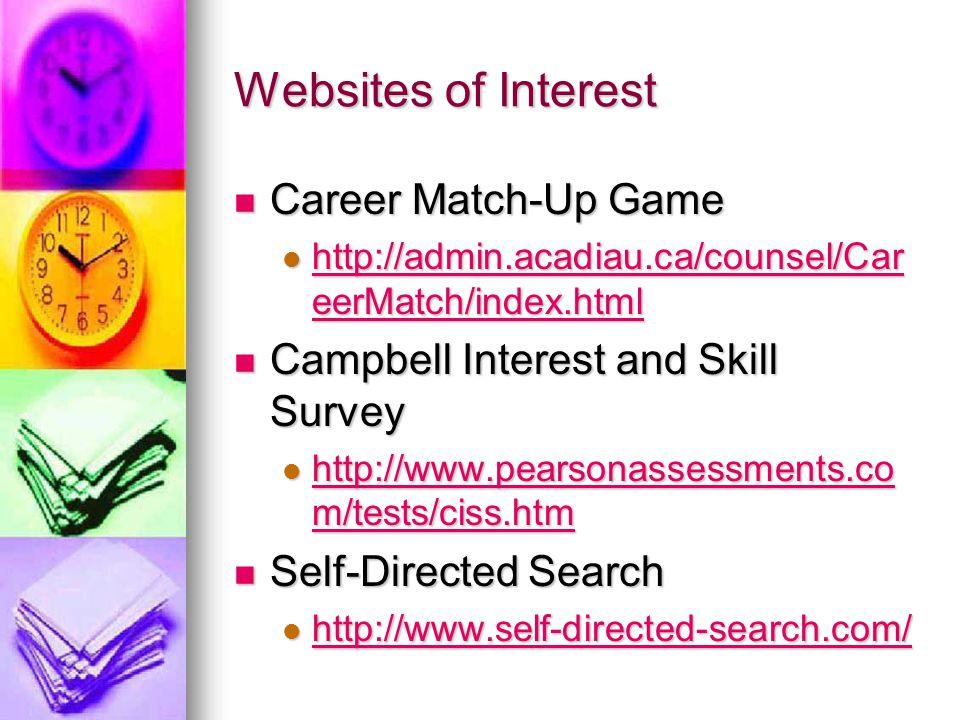 Websites of Interest Career Match-Up Game