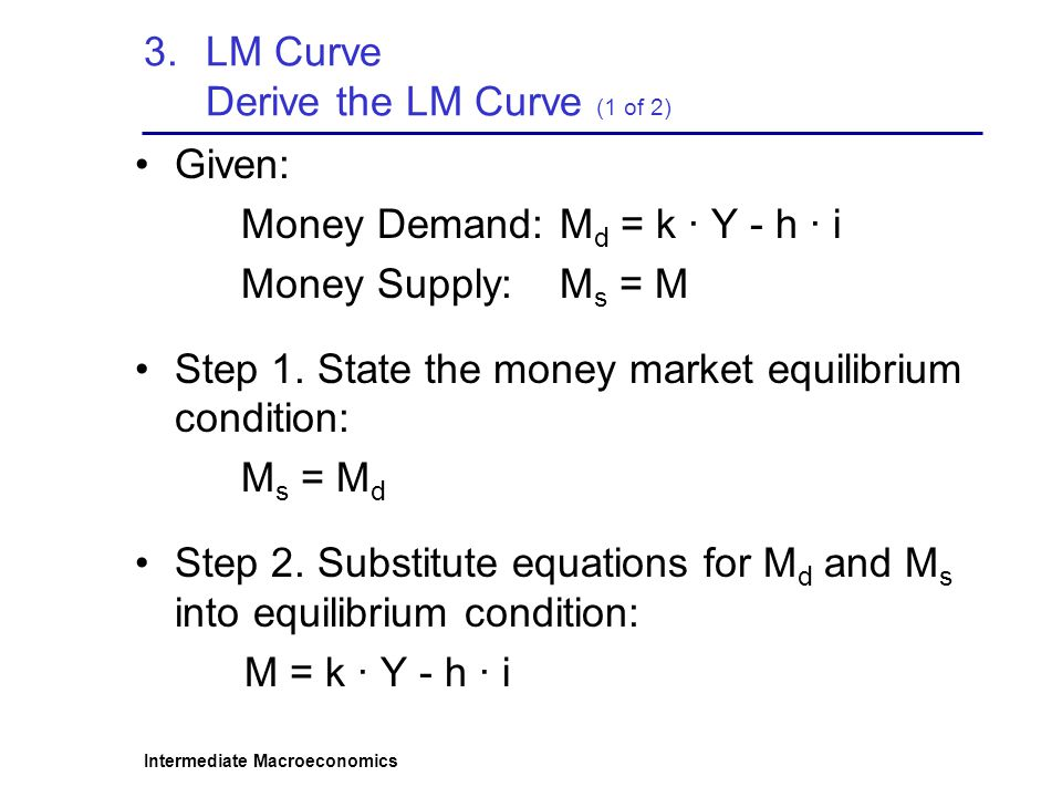 LM Curve Derive the LM Curve (1 of 2)