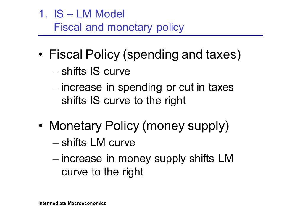 1. IS – LM Model Fiscal and monetary policy