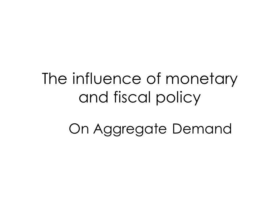 The influence of monetary and fiscal policy