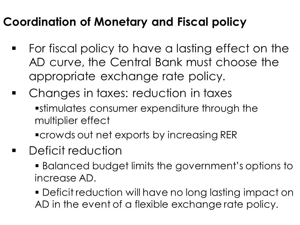 Coordination of Monetary and Fiscal policy