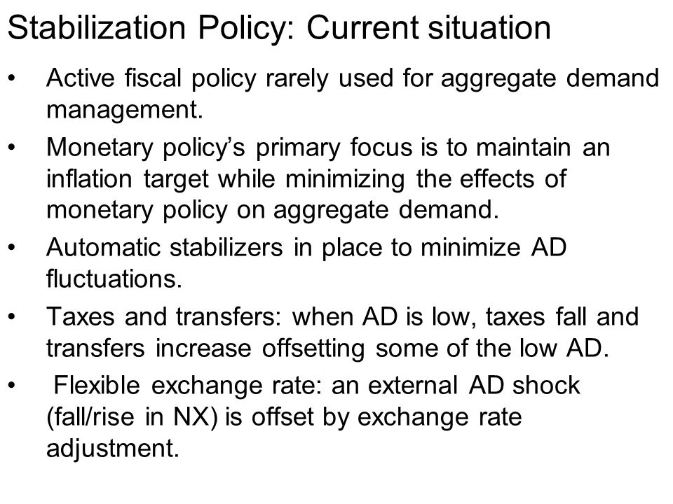 Stabilization Policy: Current situation