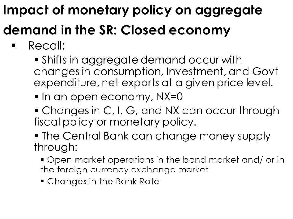 Impact of monetary policy on aggregate demand in the SR: Closed economy