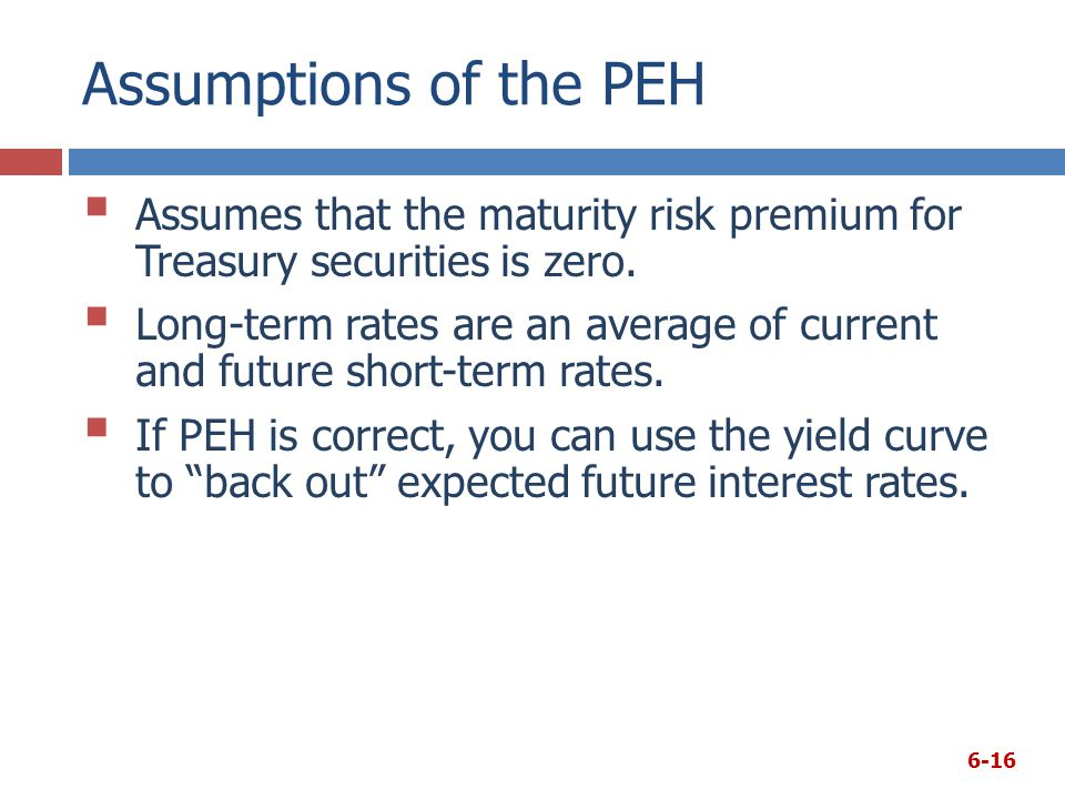 Assumptions of the PEH Assumes that the maturity risk premium for Treasury securities is zero.