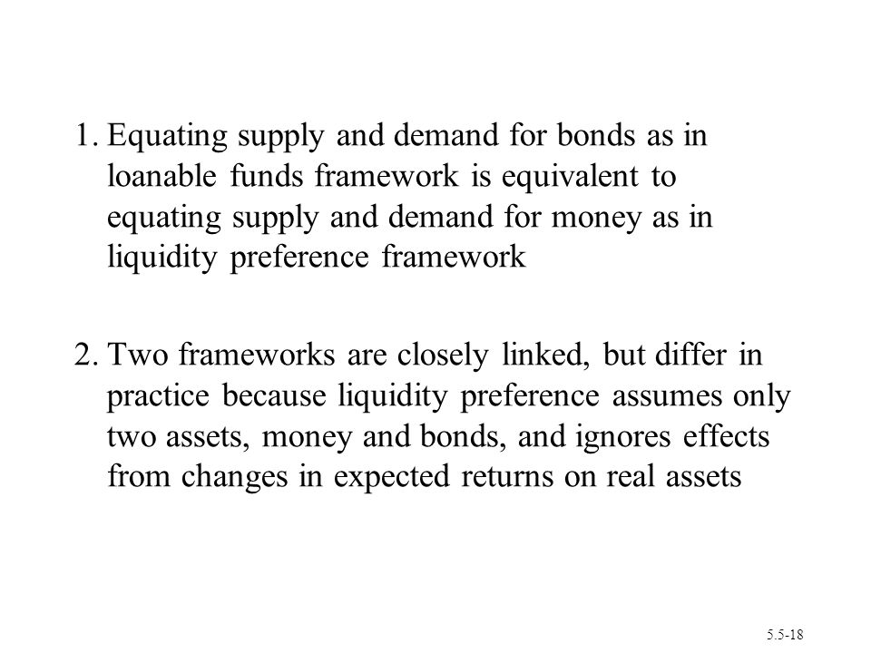 1. Equating supply and demand for bonds as in loanable funds framework is equivalent to equating supply and demand for money as in liquidity preference framework