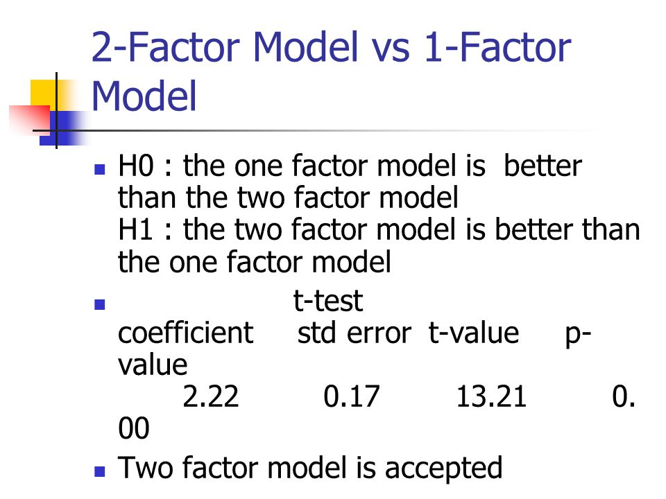 two factor model The two-factor model for credit risk: a comparison with the bis ii one-factor model january, 2002 juan carlos garcía céspedes responsible of risk methodology department at bbva.
