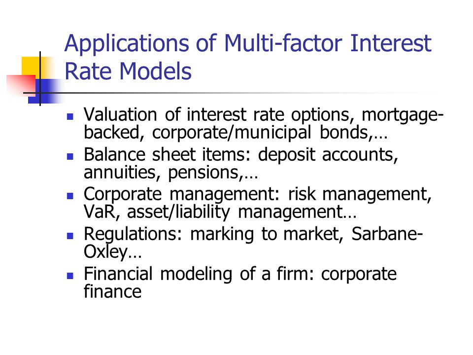 Applications of Multi-factor Interest Rate Models