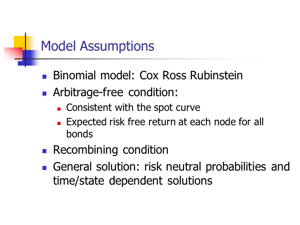 Model Assumptions Binomial model: Cox Ross Rubinstein