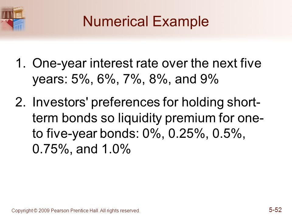 Numerical Example One-year interest rate over the next five years: 5%, 6%, 7%, 8%, and 9%