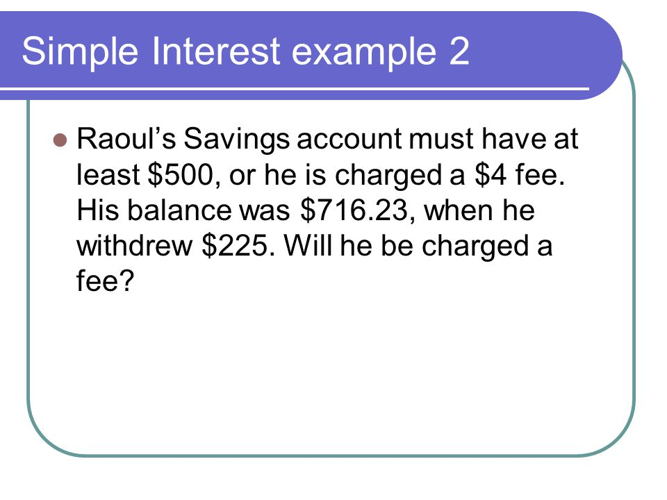 Simple Interest example 2