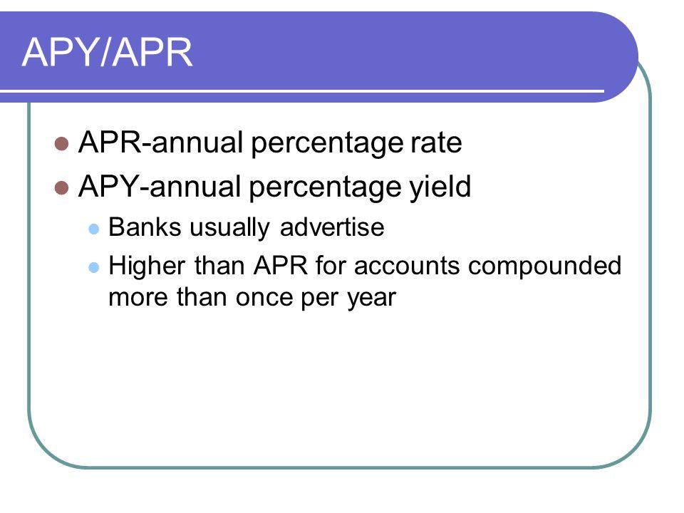 APY/APR APR-annual percentage rate APY-annual percentage yield