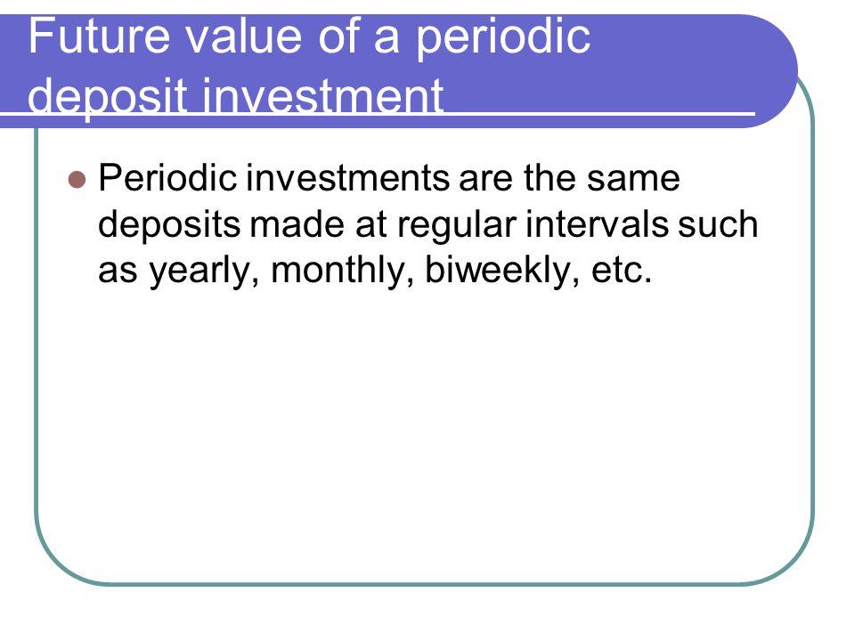 Future value of a periodic deposit investment