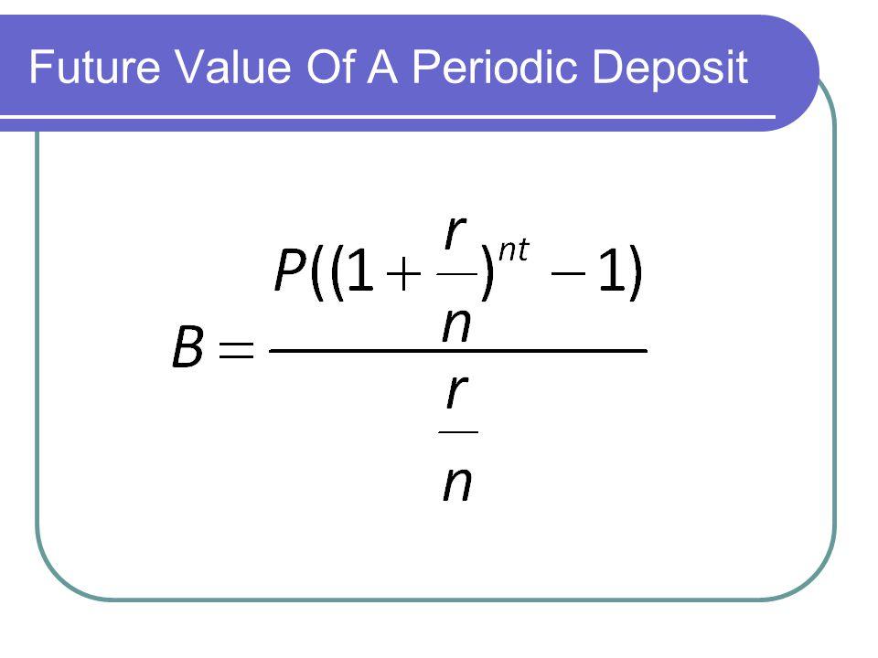 Future Value Of A Periodic Deposit