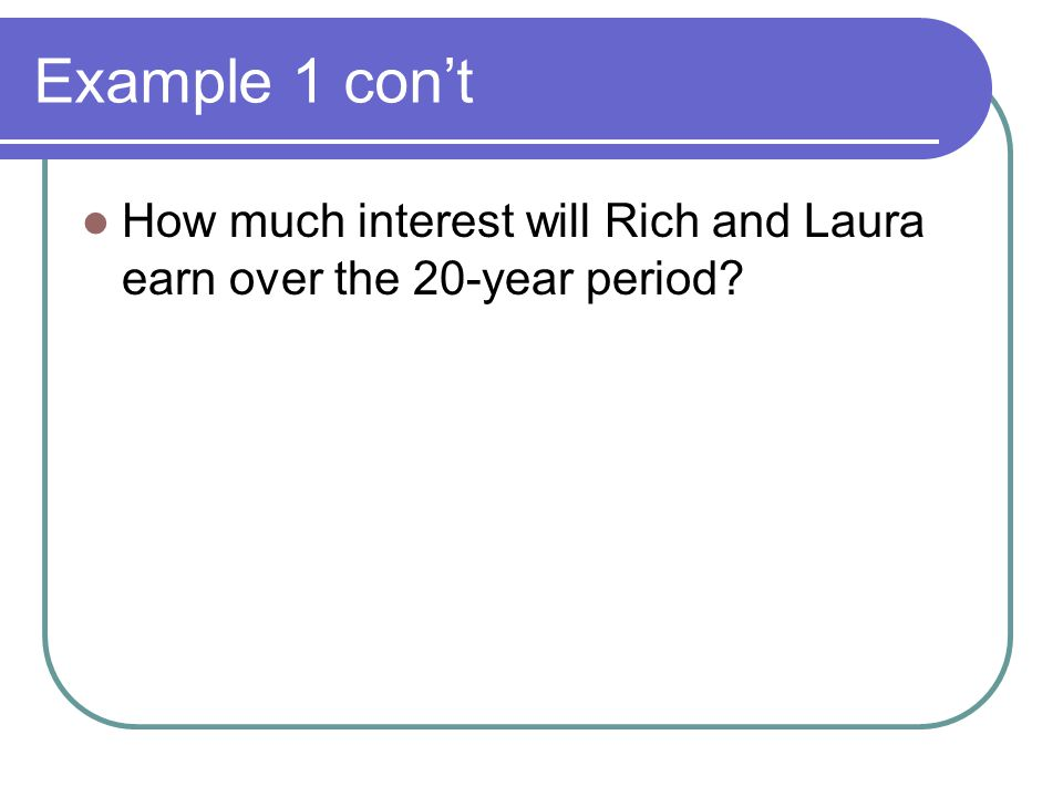 Example 1 con't How much interest will Rich and Laura earn over the 20-year period