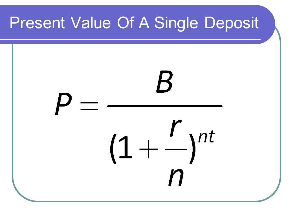 Present Value Of A Single Deposit