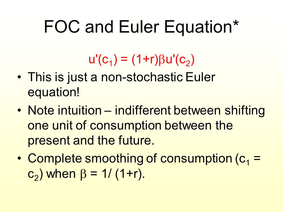 FOC and Euler Equation*