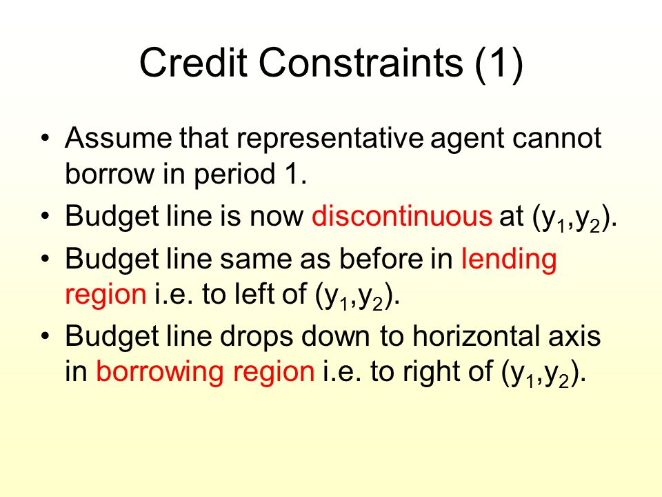 Credit Constraints (1) Assume that representative agent cannot borrow in period 1. Budget line is now discontinuous at (y1,y2).